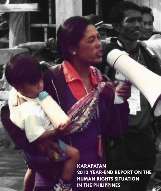 "Posted December 4, 2012: Karapatan's end of the year report documenting the more than 45 extrajudicial killings during 2012 and the hundreds of other human rights violations due to President Aquino's intensification of his ""counterinsurgency"" program Oplan Bayanian (click on pic to access pdf)."