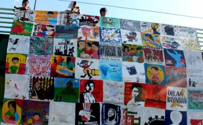 A quilt dedicated to the victims of human rights violations in the Philippines which was put together by Karapatan (photo courtesy of InterAksyon).