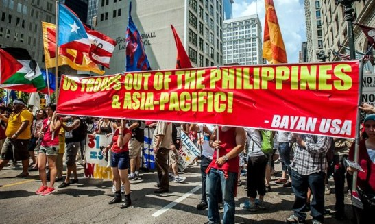 Members of BAYAN-USA protesting the presence of U.S. combat troops in the Philippines during the anti-NATO demonstrations in Chicago in May of 2012 (photo courtesy of BAYAN-USA).