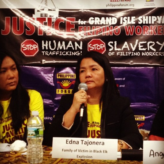 Edna Tajonera, the wife of slain oil rig worker, Avelino Tajonera, spoke of the tremendous love she felt for her husband of over 30 years and the depth of the loss she now feels (photo by Jackelyn Mariano courtesy of Philippine Forum).