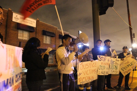 Members of BAYAN-USA, back in December, protesting in front of an Xstrata recycling plant in San Jose over the killing of members of the Capion family (photo courtesy of Anakbayan-Silicon Valley).