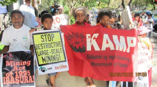 Members from Indigenous tribes of Northern Luzon protesting in Manila back in March of 2012 over the presence of large scale mining in their communities which leads to environmental destruction and human rights violations (photo from KAMP courtesy of Bulatlat).