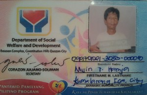 The DSWD ID of Muin Hamja, a fisherman from Basilan (photo courtesy of Pinoy Weekly).