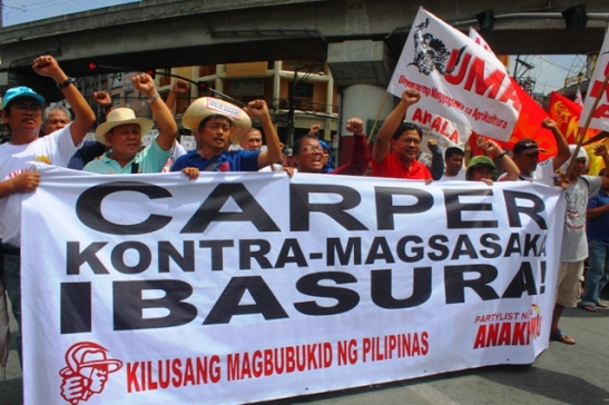 Peasant leaders and organizers calling on the government to scrap CARP-ER (photo courtesy of Bulatlat).