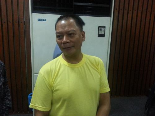 Security guard Rolly Panesa appearing in court in February (photo courtesy of Karapatan).