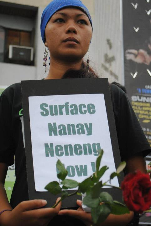A protester calling for the release of Estelita T. Tacalan who was abducted by the PNP (who denied her that she was detained by them until recently) and then charged with trumped up charges (photo courtesy of Rural Missionaries of the Philippines-NMR).
