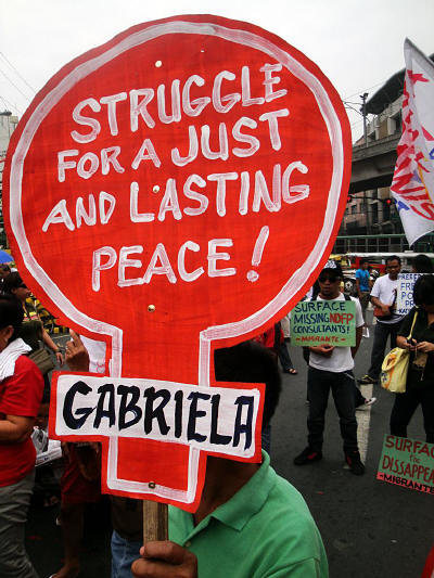 Gabriela, and other grass-roots organizations, protesting on Valentine's Day 2011 asking the government to engage in peace talks with the NDFP (photo courtesy of Arkibong Bayan).