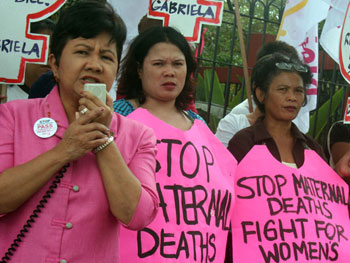 Women of Gabriela and Gabriela Women's Partylist, in 2011, demanding a comprehensive women's reproductive and health law (photo courtesy of Bulatlat).