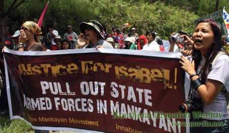People of Mankayan in the Cordillera protesting the presence of the Armed Forces of the Philippines in their community in May of 2012 (photo by Brenda S. Dacpano/Northern Dispatch).