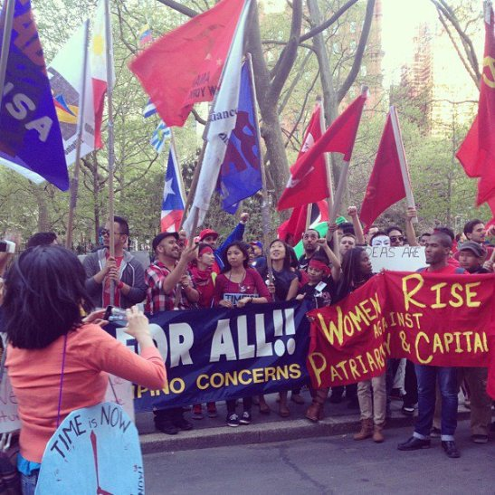 Members of Gabriela-USA and BAYAN-USA in New York on May 1st calling for workers and immigrant rights and comprehensive immigration reform (photo by Jackelyn Mariano).