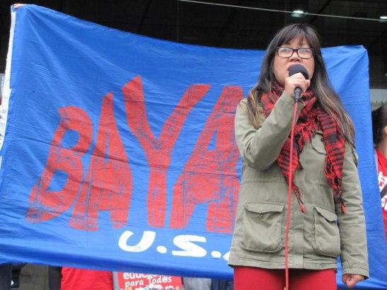 BAYAN-USA chair Bernadette Ellorin at an anti-war rally last October (photo courtesy of Anakbayan New Jersey).
