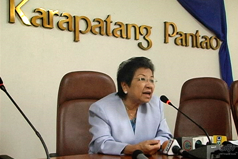 Etta Rosales, chair for the Philippine government's Comission on Human Rights (photo courtesy of UNTV News).