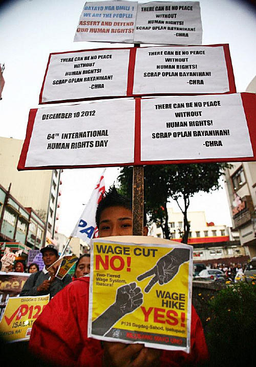 The Cordillera Human Rights Alliance holding a march during International Human Rights Day on Dec. 10th, 2012 (photo courtesy of Arkibong Bayan).