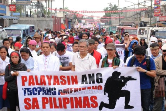 A march in Mindanao in 2012 protesting the presence of US troops in the Philippines (photo by Patriotiko Mindanao).