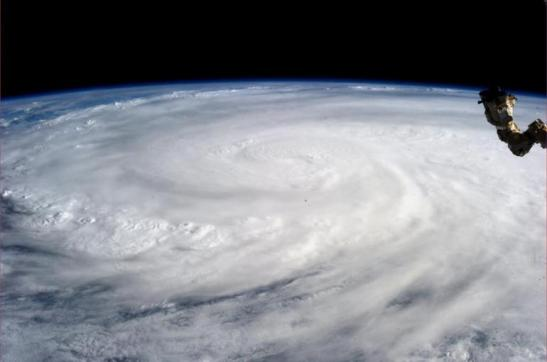 Supertyphoon Yolanda seen covering much of the southeastern Pacific Ocean (photo courtesy of the International Business Times).